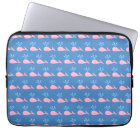 Pink Whale Pattern on Blue. Laptop Sleeve
