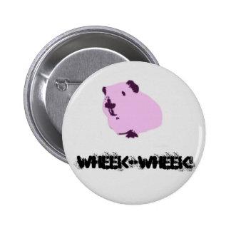 Pink wheek wheek guinea pig 6 cm round badge