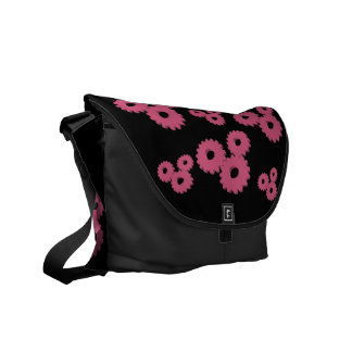 Pink Wheels circles theme messenger bag