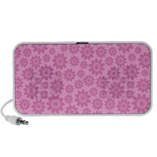 Pink whimsical doodle flower pattern speakers