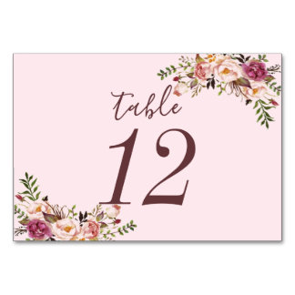 Pink Whimsical Floral Watercolor Table Cards