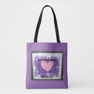 Pink white abstract painting heart purple bag