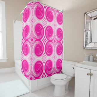 Pink White Abstract Swirl Pattern Shower Curtain