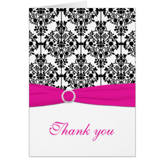 Pink, White and Black Damask Thank You Card