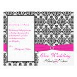 Pink, White, and Black Damask Wedding Program Full Color Flyer