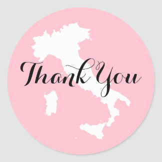 Pink White and Black Italy Wedding Thank You Classic Round Sticker