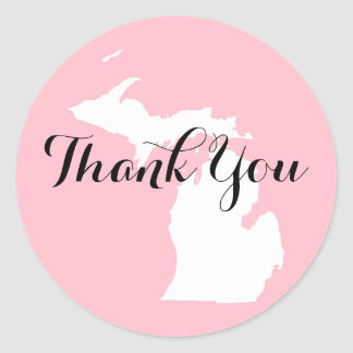 Pink White and Black Michigan Wedding Thank You Classic Round Sticker