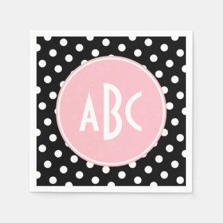 Pink White and Black Polka Dot Monogram Paper Napkin