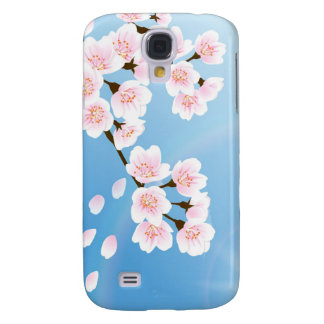 Pink White And Blue Cherry Blossom Samsung Galaxy S4 Cases
