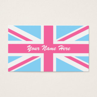 Pink White and Blue Union Jack UK Flag Business Card