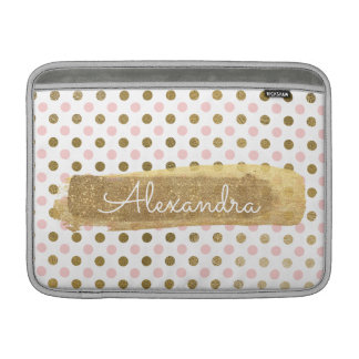 Pink, White and Gold Foil Polka Dot Name MacBook Sleeve