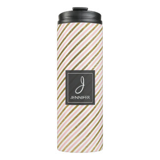 Pink, White and Gold Foil Striped Pattern Monogram Thermal Tumbler