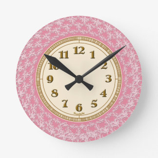 Pink, White and Gold Lacy Pattern Wall Clocks