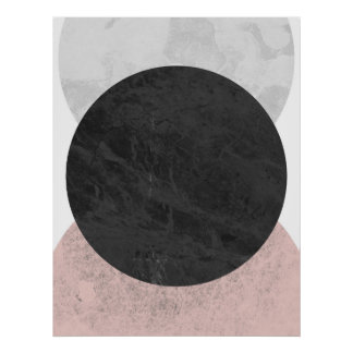 Pink white and gray circles, geometric poster