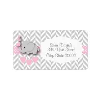 Pink, White and Gray Elephant Baby Shower Address Label