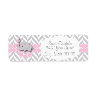 Pink, White and Gray Elephant Baby Shower Return Address Label