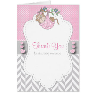 Pink, White and Gray Monkey Baby Shower Thank You Card
