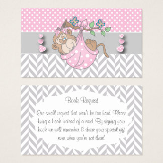 Pink, White and Gray Monkey Book Request Business Card