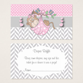 Pink, White and Gray Monkey Diaper Raffle Business Card