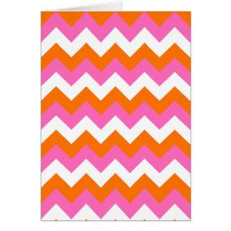 Pink White and Orange Zigzag Card