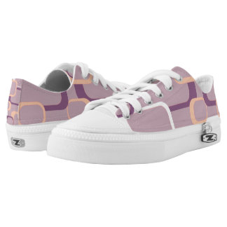 Pink White and Purple Retro Squares Printed Shoes