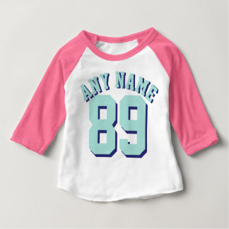 Pink White & Aquamarine Baby | Sports Jersey Baby T-Shirt