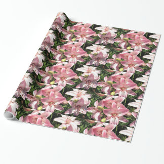Pink White Asiatic Lilies Wrapping Paper