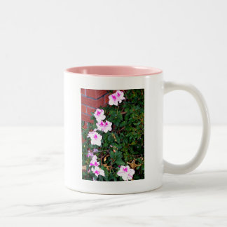 Pink/White Azalea & Bricks Two-Tone Mug