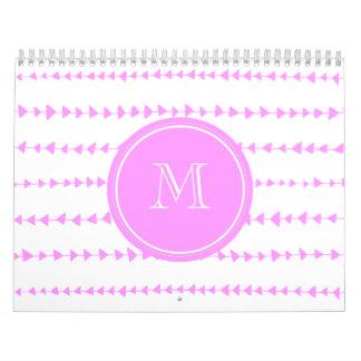 Pink White Aztec Arrows Monogram Calendar