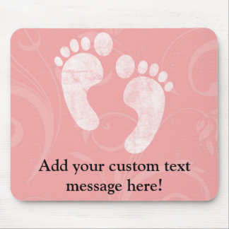 Pink/White Baby Footprints Mouse Pad