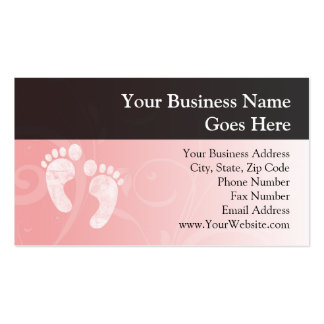 Pink/White Baby Footprints Pack Of Standard Business Cards