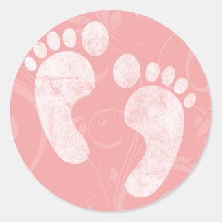 Pink/White Baby Footprints Round Sticker