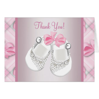 Pink White Baby Shoes Baby Girl Thank You Cards