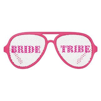 Pink White Bachelorette Bride Tribe Glasses