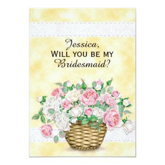 Pink White Basket of Roses  Bridesmaid Invitation