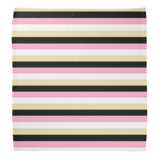 Pink, White, Beige and Black Stripes Bandana