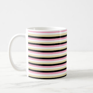 Pink, White, Beige and Black Stripes Coffee Mug