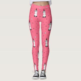 Pink, White, & Black Unicorn Leggings