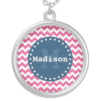 Pink White Blue Chevron Zigzag Monogram Custom Jewelry