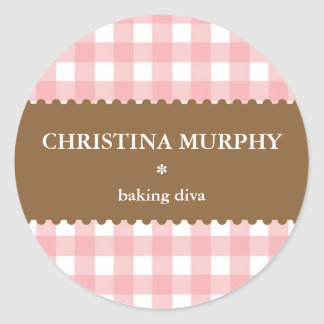 Pink white brown gingham homemade food label seal round sticker