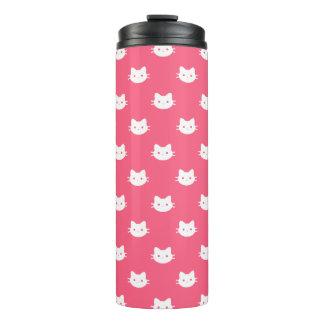 Pink White Cat Thermal Tumbler