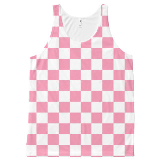 pink white check pattern all over print tank top All-Over print tank top