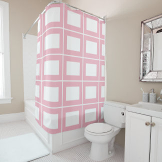 Pink White Chequerboard Rectangle Geometry Shower Curtain