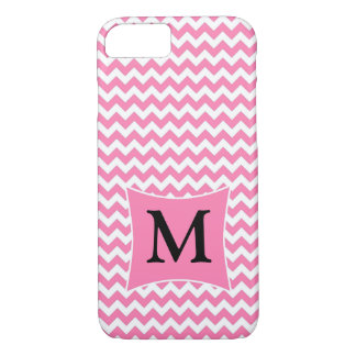 Pink & White Chevon with Monogram Phone Case