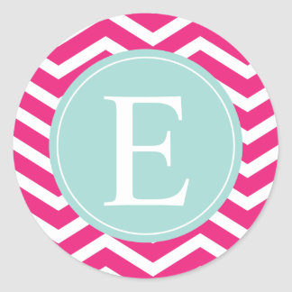 Pink White Chevron Mint Teal Monogram Classic Round Sticker