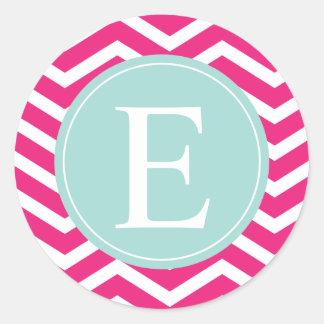 Pink White Chevron Mint Teal Monogram Round Sticker