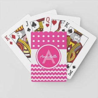 Pink White Chevron Monogram Personalised Playing Cards