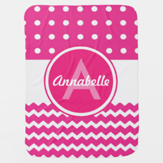 Pink White Chevron Monogram Personalized Baby Blanket