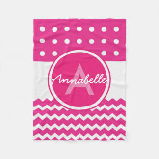 Pink White Chevron Monogram Personalized Fleece Blanket