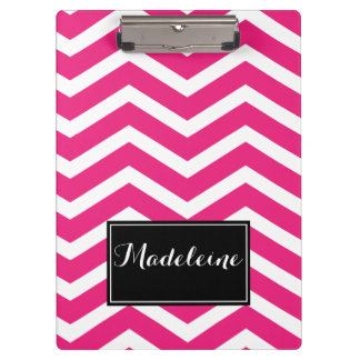 Pink White Chevron Name Zig Zag Clipboard